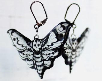 big earrings black butterfly earrings animal lover wing earrings gothic earrings black earrings alternative wedding earrings skull butterfly