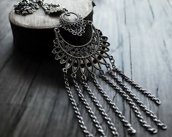 necklace for women statement jewelry statement necklace bohemian necklace edgy jewelry tribal necklace boho necklace long pendant necklace