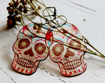 sugar skull earrings for girls, calavera, day of the dead, la muerte, dia de los muertos, oldschool, punk, rock, gothic weird earrings