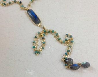 Aqua Blue Gemstone Y Necklace/ Boho Chic Labradorite Necklace/ Choker Y Necklace