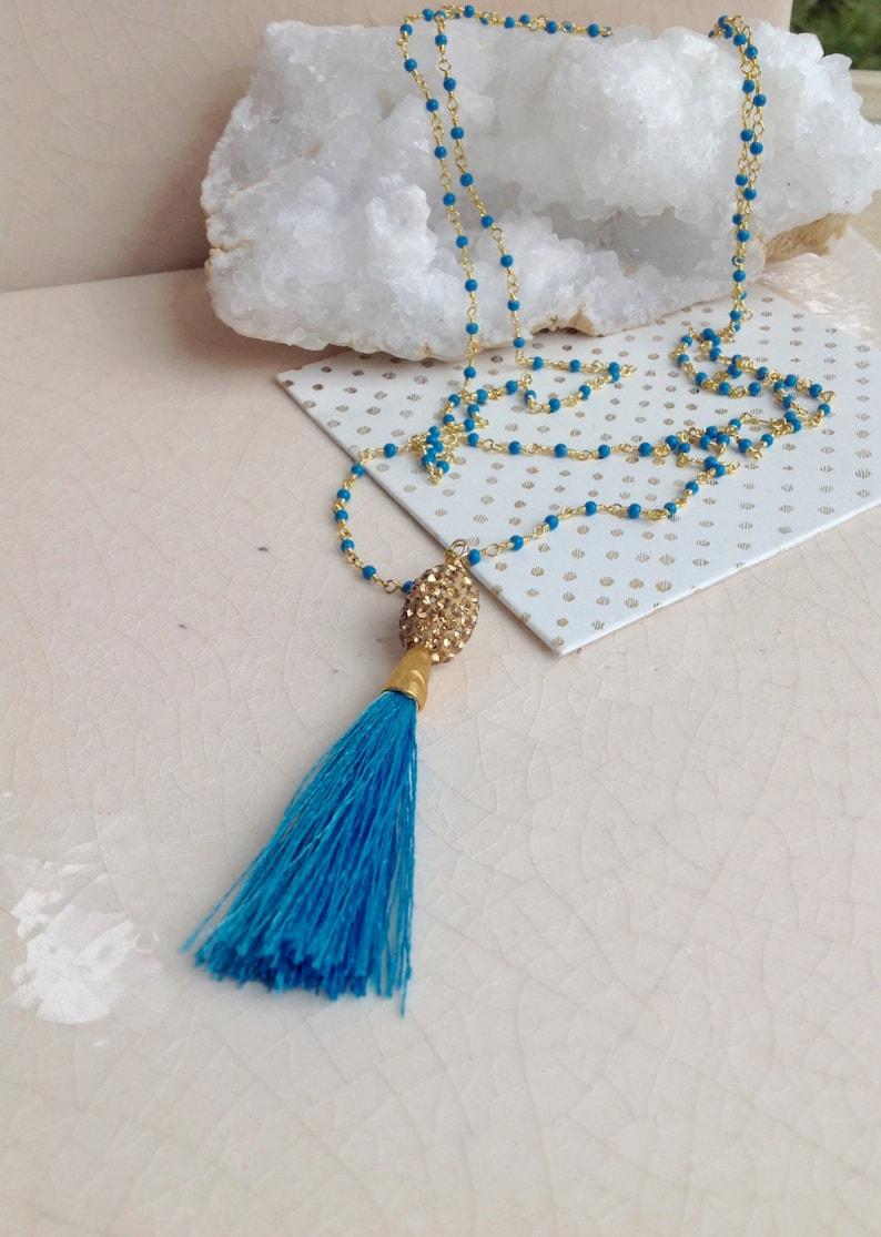Turquoise Gold Tassel Necklace Pav\u00e9 Tassel Jewelry Resort Boho Necklace
