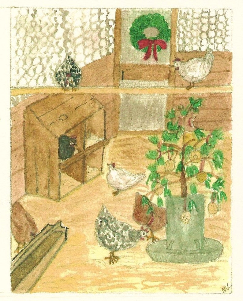 Christmas chickens notecards comes in a set of five with image 0