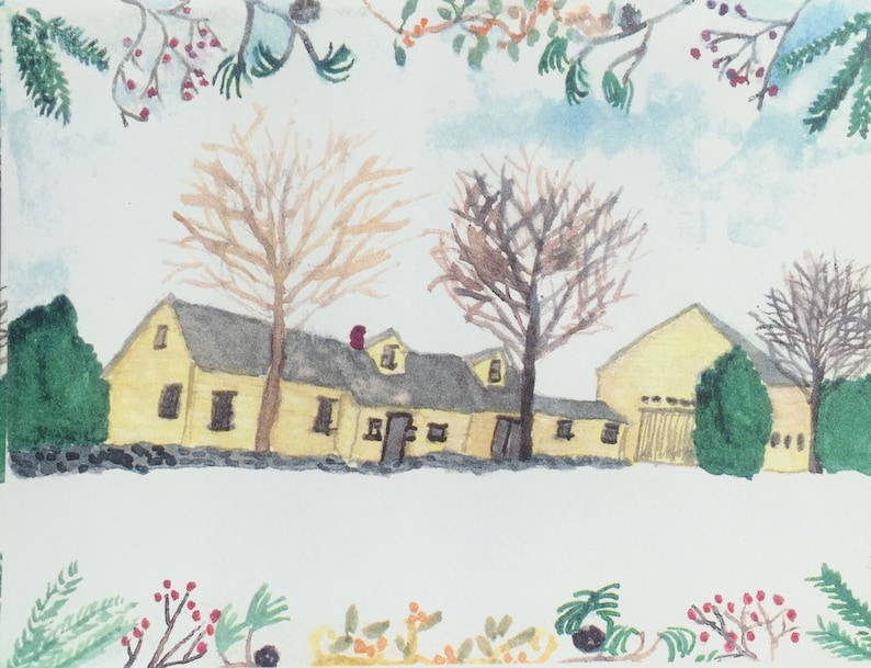 Christmas connected farmhouse notecards comes in a set of five image 0