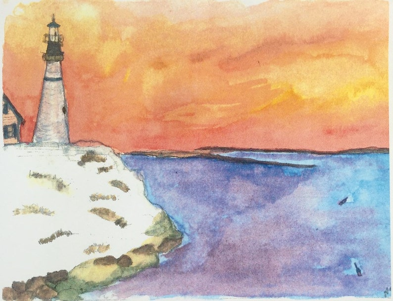 Watercolor printed postcard with Lighthouse at Dusk by Naomi image 0