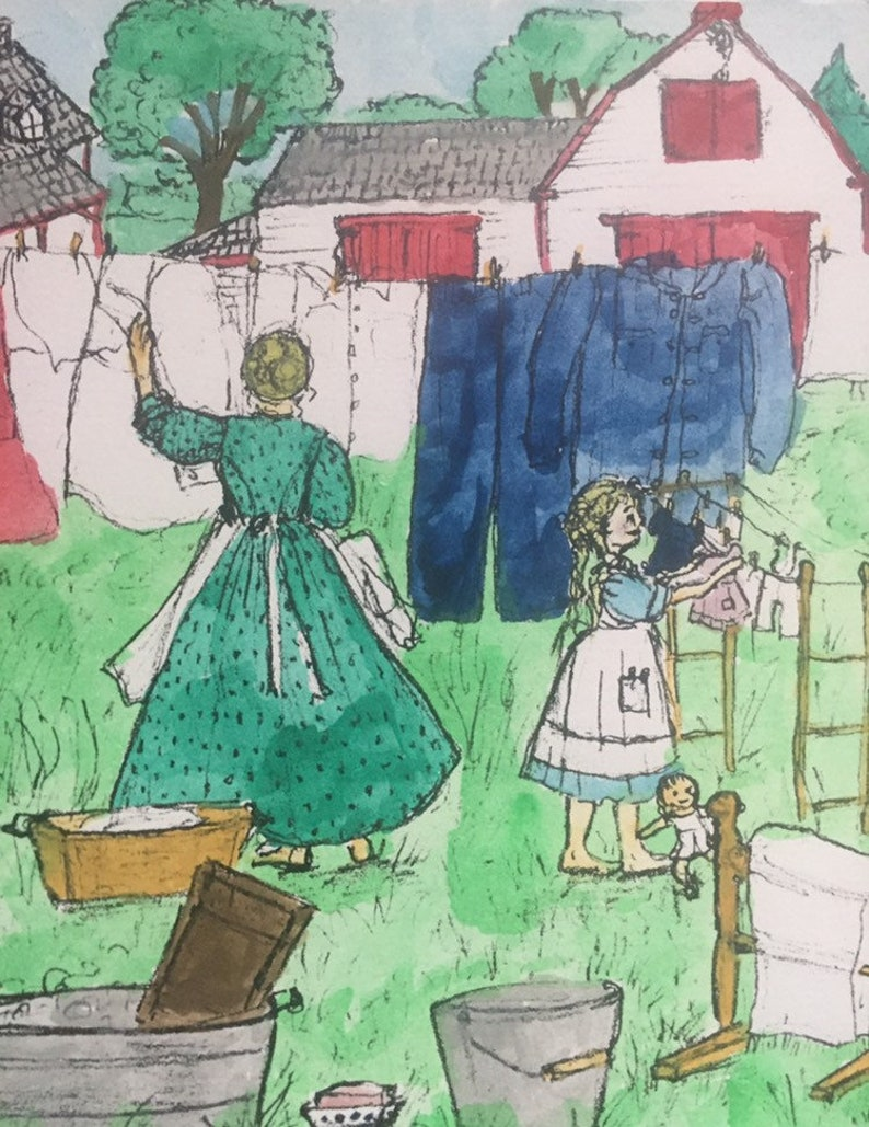 Old fashioned farmer lady hanging up laundry. image 0