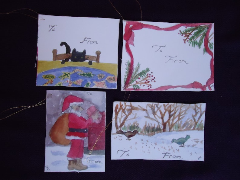 Set of four gift tags for Christmas time. image 0