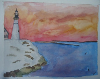 Lighthouse at Dusk comes in sets of five note cards and envelopes tied with ribbon.  They are blank inside and have a title on the back.