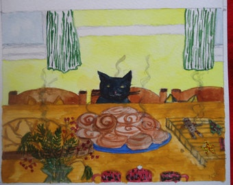 Buddy, Fern and Ivy at the Kitchen Counter  watercolor print.