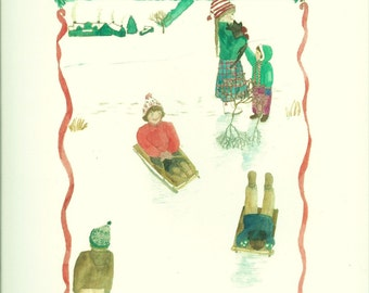 Set of five Christmas notecards comes with envelopes and tied with ribbon.