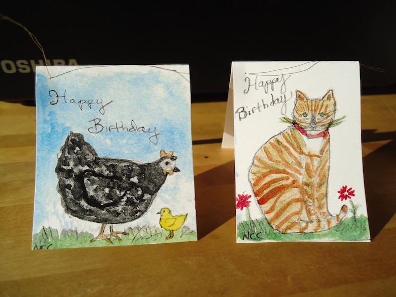 Set of four gift tags for birthdays. image 0