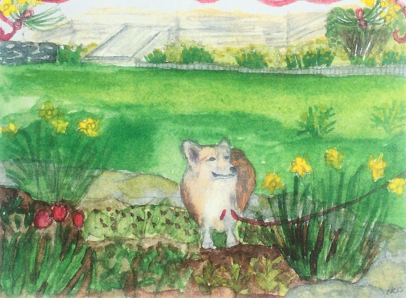 Lili the Corgi comes in sets of five note cards and envelopes image 0