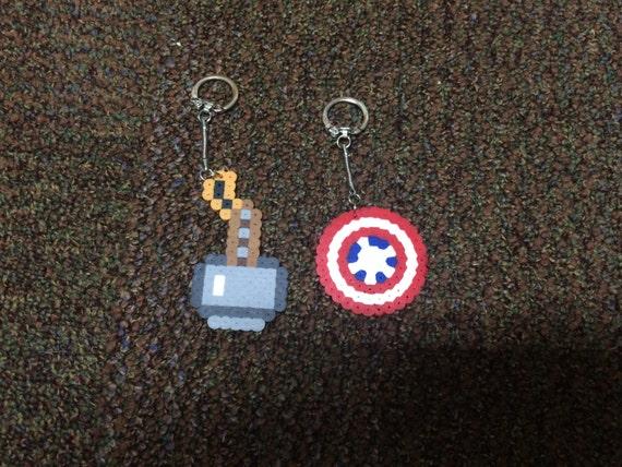 Marvel Keychain Set Captain America Shield Thor Mjolnir Gift