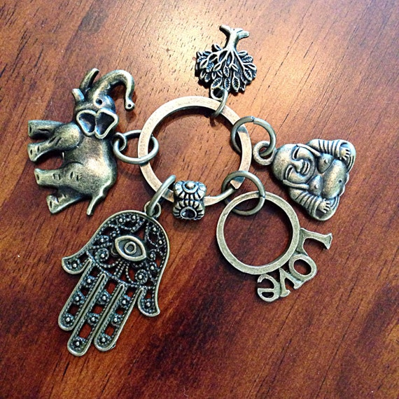 Lot Of 5 Buddha Buddhist Hamsa Hand Peace Protection Spiritual Charm Keychain