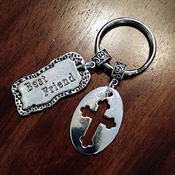 Meilleurs amis trousseau, Christian trousseau, Cowgirl Keychain Silver Cross trousseau, croix porte-clés w / poisson symbole charme