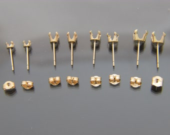 6 Prong 5mm - 10mm Gold Plated Snap Tite Dangle Drop Settings Round
