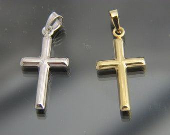 10k Yellow Gold Polished Beveled Cross w//Round Tips Pendant 10K8524