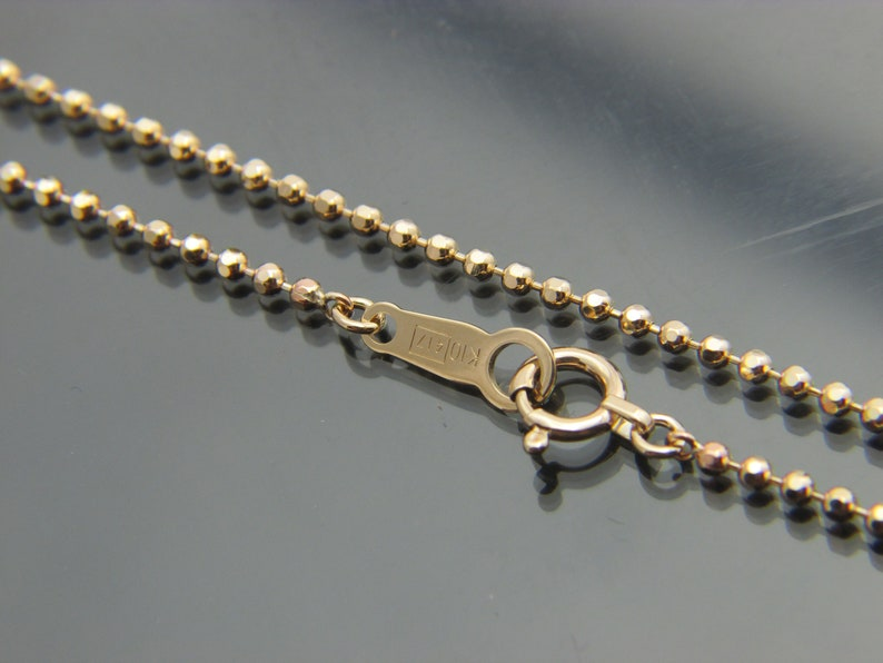 REAL 10K Yellow Gold 2MM HEART Chain Necklace Solid 10kt gold Necklace