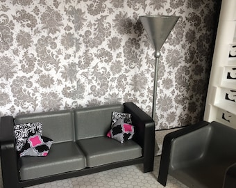 Upcycled Doll Furniture   Gray And Black Sofa / Couch And Matching Chair W/ Throw