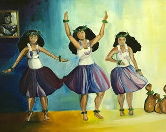 Three Hula Dancers original framed oil painting