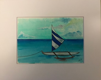 Resting in the bay Original acrylic painting