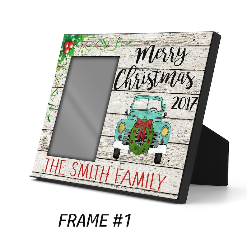Dated Personalized Christmas Picture Frame Family Photo Frame-Family Gift-Holiday Decor-Christmas Gift-Offset Photo Frame-CHristmas Frame