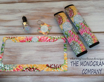Personalized Car Accessories-Monogrammed Car Tag Frame-Phone USB Charger-Key Ring-Seat belt Covers-Graduation-Design you Own-Car Monogram