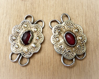 Paar d ' antike Elemente - Elemente turkmenischen Afghanen Vintage - Steckverbinder Abstandshalter bilden goldenen Blume rot Glas alt -