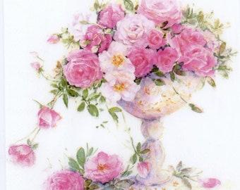 4 Roses Decoupage Paper Napkins Pink Blossom Roses On The Beige Paper Napkins For Decoupage Paper Rose Gold Paper Serviette Floral Napkins