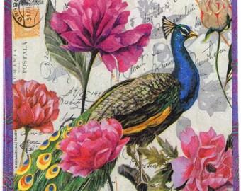 Serviettes en papier Fleur Oiseau Papillon Paper Napkins Flower Bird Butterfly