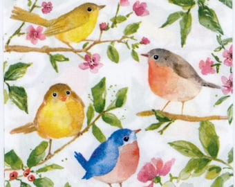 4 Cocktail Paper Napkins Serviettes Decoupage Napkins Little Birds Winter Birds