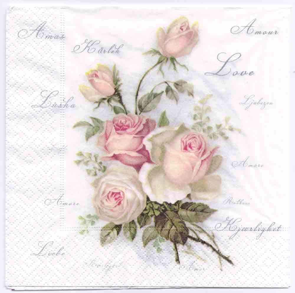 4 Decoupage Paper Napkins Vintage Roses Of Amour Rose Etsy