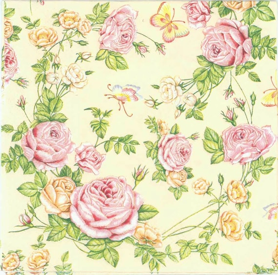 PAPER TABLE NAPKINS FOR CRAFT VINTAGE CHRISTMAS FLOWER DECOUPAGE TEA PARTIES 368