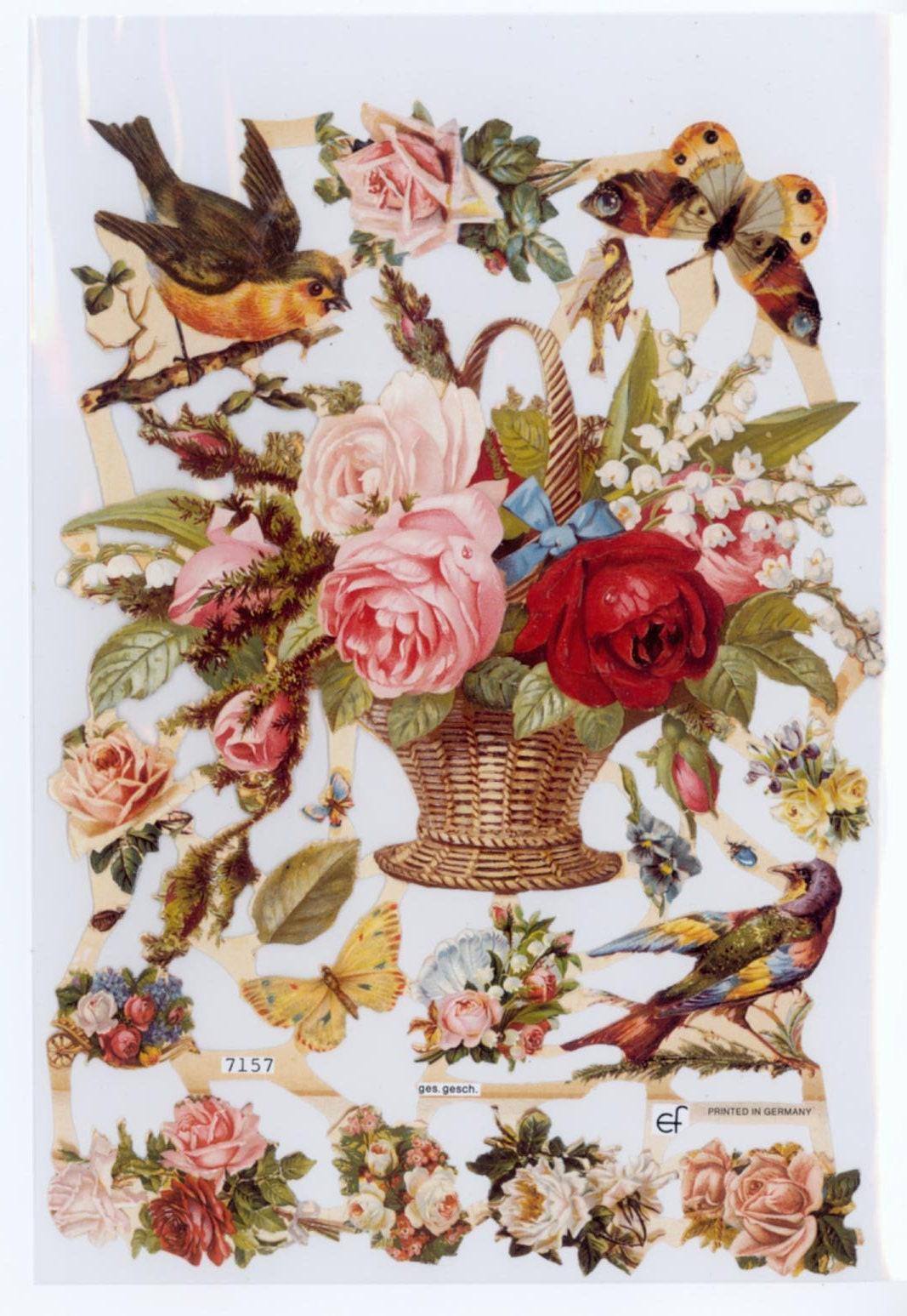 Decoupage Die Cut Paper Vintage Flower Basket L Die Cut Etsy