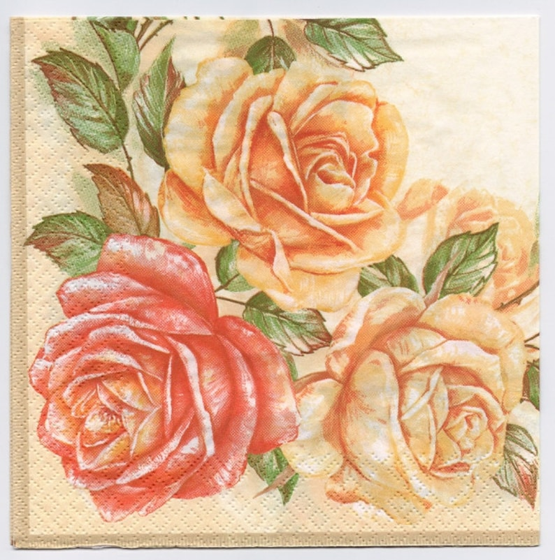 ROSES GARLAND 4 single COCKTAIL SIZE paper napkins for decoupage 3-ply