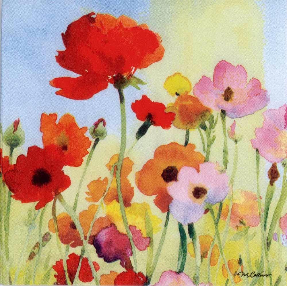 4 Decoupage Napkins Wild Poppies In Watercolor Poppy Etsy
