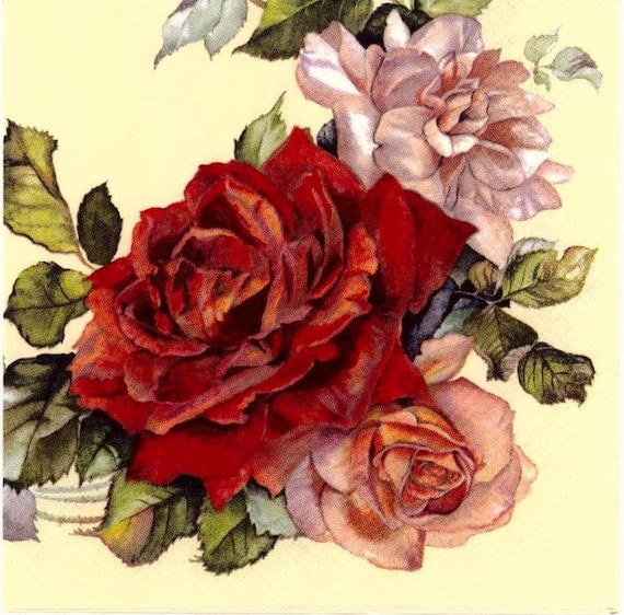 10 servilletas carta parís rosa romántico serviettentechnik 1//4 letter rosas Fei