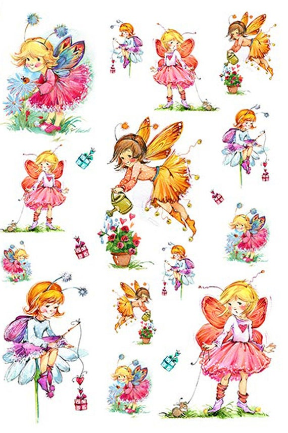 Rice Paper for Decoupage Scrapbook Craft Girl and Dog Flowers 368