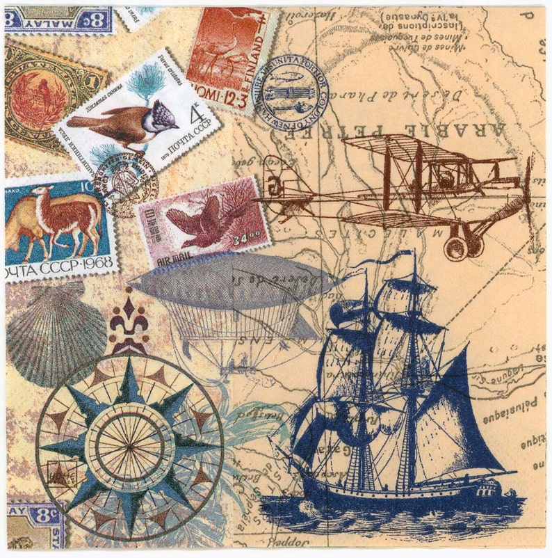 Decoupage Napkins   Vintage Travel World Map Tall Sailing Ship Airplane  Airship Stamps Postmarks   Paper Napkins for Decoupage