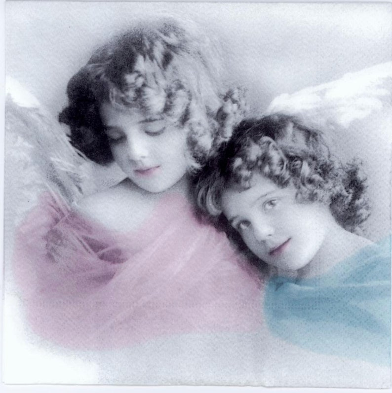 4 Decoupage Napkins Vintage Napkins Colored vintage  Angels Fairy Napkins Paper Napkins for Decoupage Victorian Napkins