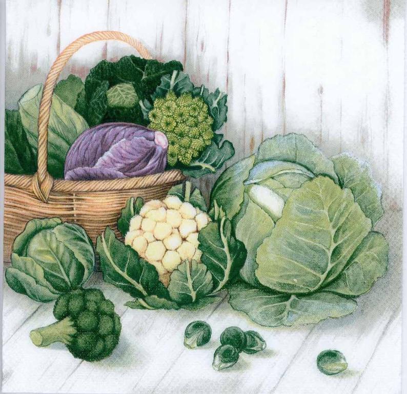 Garden Napkins Garden Harvest Cabbage Brussels Sprouts 4 Decoupage Napkins Harvest Napkins| Party Napkins |Paper Napkins for Decoupage