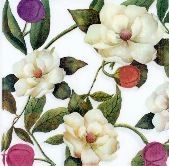 4 x Paper Napkins Roses Flowers Frame for Decoupage Crafting Table 44