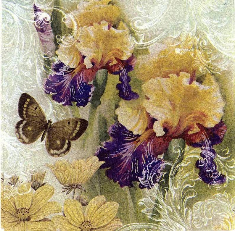 Jardin De Table DécoupageIris Papillons 4 Serviettes Et IrisFloral KF1Jlc