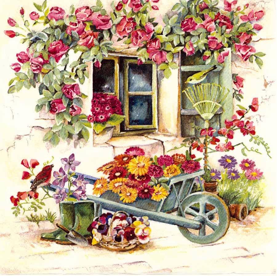 4 Decoupage Napkins Summer Flower Garden With Wheelbarrow Bird Garden Napkinssummer Napkinsflower Napkinspaper Napkins For Decoupage