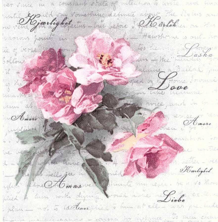 4 Designer Paper Napkins | Vintage Roses of Love | Wedding Napkins ...