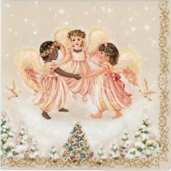 4 SERVIETTES EN PAPIER NOEL BOULES DESIGN ANGES 4 PAPER NAPKINS CHRISTMAS ANGELS
