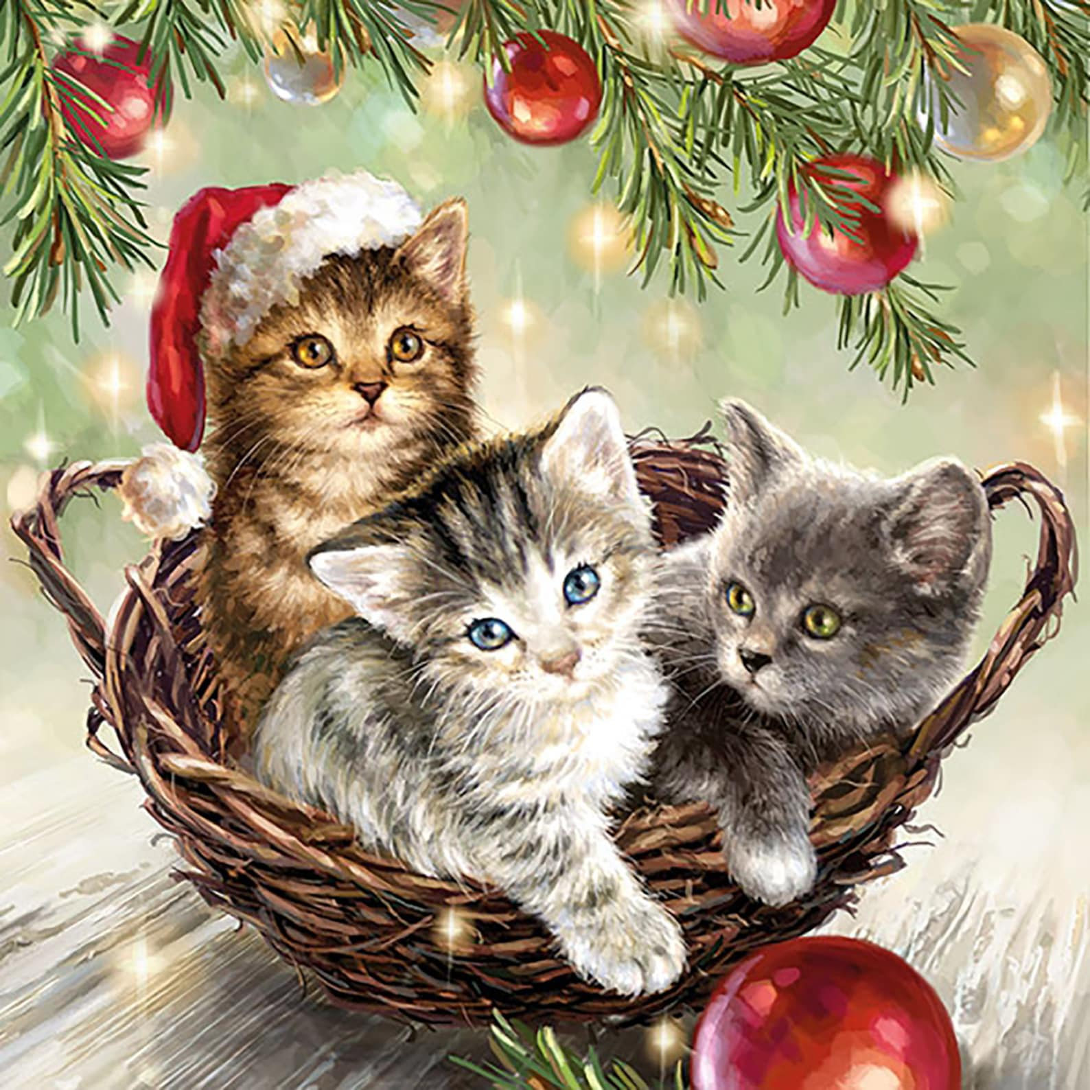 Christmas Kitten Napkins
