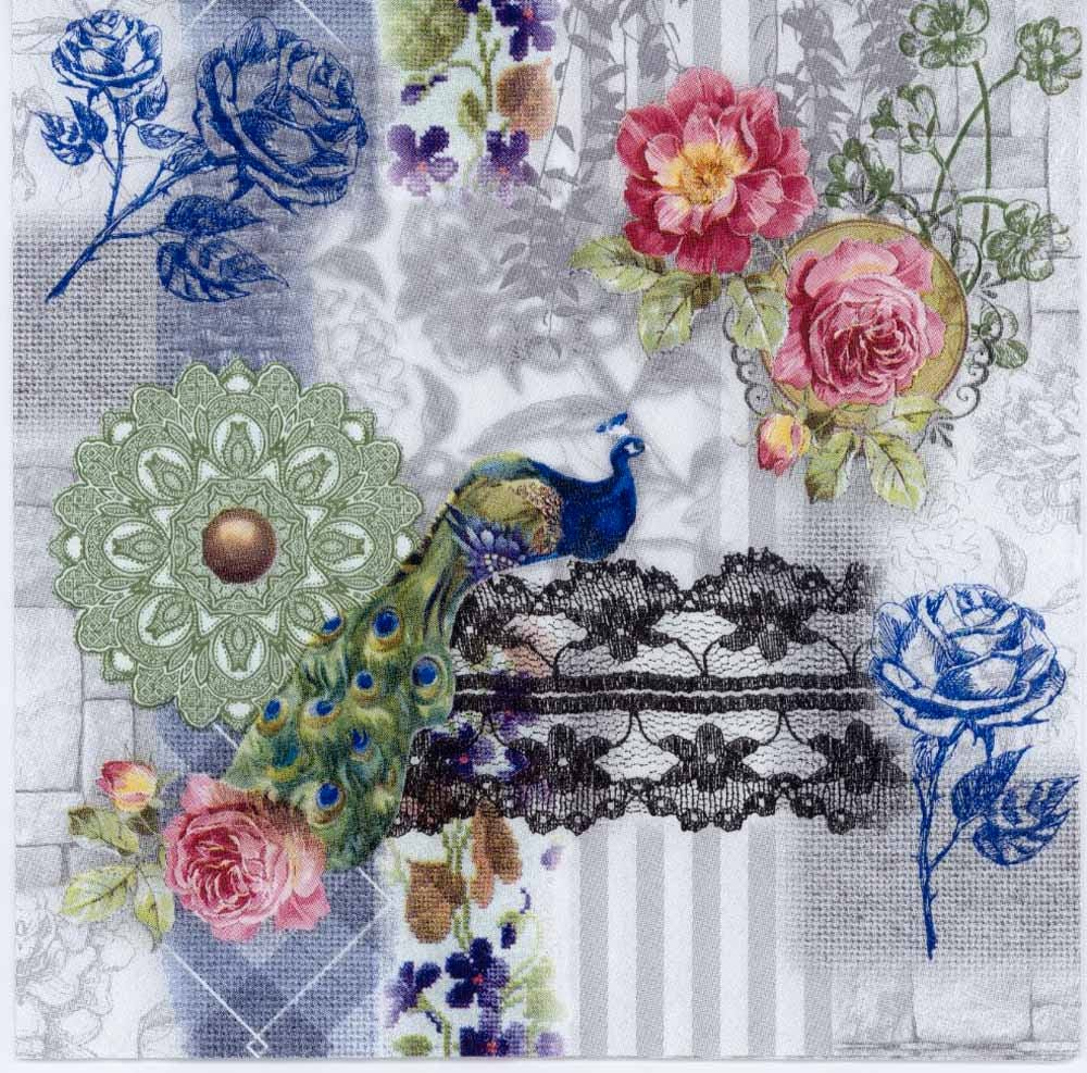 4 Decoupage Napkins Peacock And Blue And Pink Roses Etsy