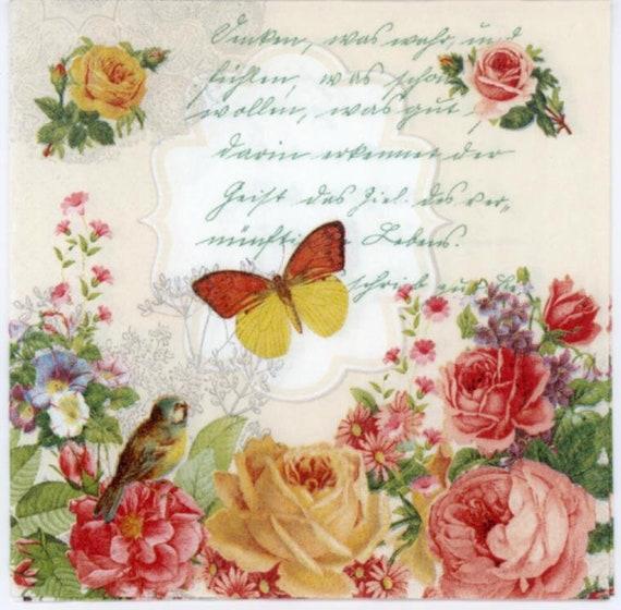 PAPER TABLE NAPKINS FOR CRAFT FLOWER SPRING VINTAGE DECOUPAGE TEA PARTIES 503