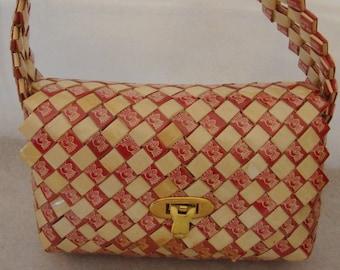 Vintage Handbag Made of Folded Paper Wrappers