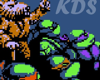 NES TMNT Square - Splinter & Turtles Cross Stitch Pattern